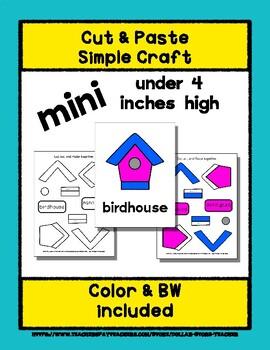 Birdhouse - Cut & Paste Craft - Mini Craftivity for Pre-K & Kindergarten