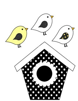 Birdhouse Job Assignment Bulletin Board (yellow accents)
