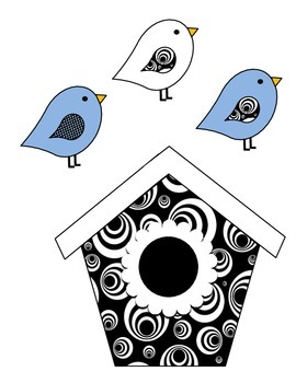 Birdhouse Job Assignment Bulletin Board (blue accents)