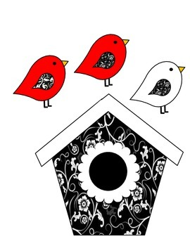Birdhouse Job Assignment Bulletin Board (red accents)