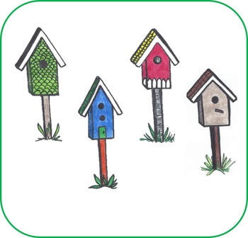 Birdhouses Clip Art Black & White and Color