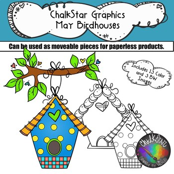Birdhouses May Clip Art –Chalkstar Graphics