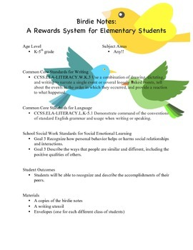 Birdie Notes: A Reward System for Elementary Students