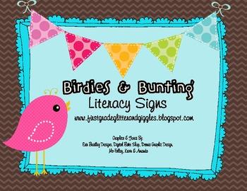 Birdies & Bunting Literacy Signs