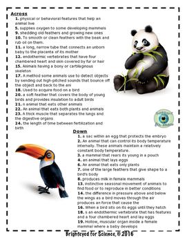 Birds & Animals Crossword Puzzle