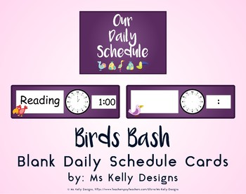Birds Bash Blank Daily Schedule Cards