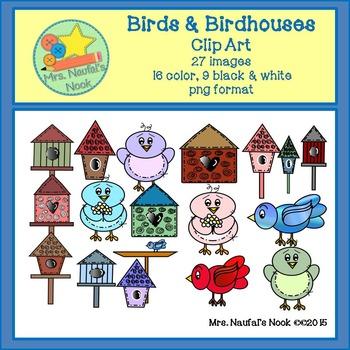 Birds and Birdhouses Clip Art
