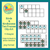 Ten Frames Clip Art - Birds and Birdhouses
