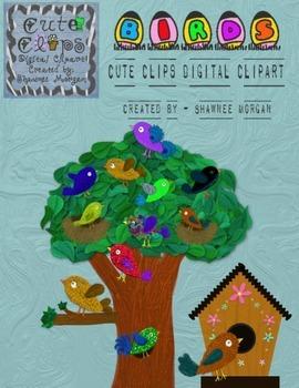 Birds, Birdhouses, Trees [Cute Clips Digital Clipart]