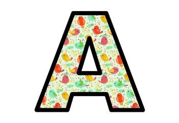 Birds, Bulletin Board Letters, Spring Decor, A-Z, a-z, 0-9, Punctuation, Symbols