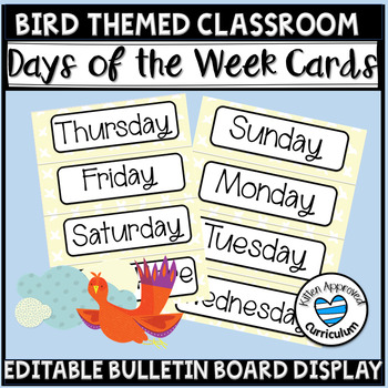 Birds Class Decoration Day Of The Week Editable Signs
