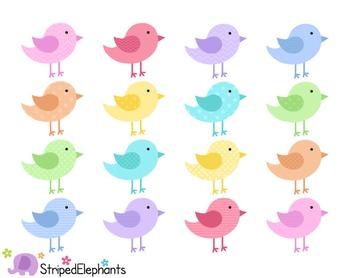Birds Clip Art - Pastel
