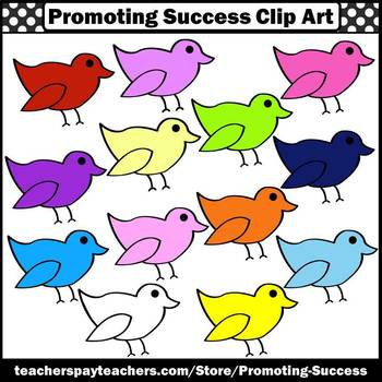 Rainbow Colors Bird Clipart for Spring Bulletin Boards Commercial Use SPS