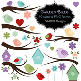 Birds Clipart Birds Branches Clip Art Flowers Birdhouse Hearts Garden Scene