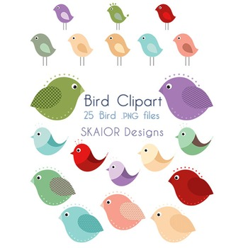 Birds Clipart Robin Bird Clip Art Digital Birds Printable Flying Rainbow Cute