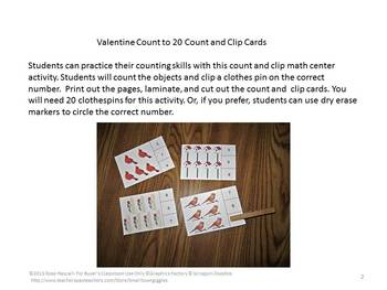 Birds Counting to 20, Count and Clip, Kindergarten Math, Special Education Math