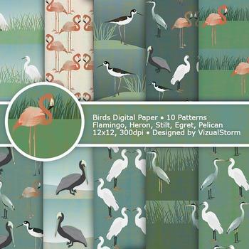 Bird Digital Paper, 10 Wildlife Patterns, Egret, Heron, Flamingo, Pelican, Stilt