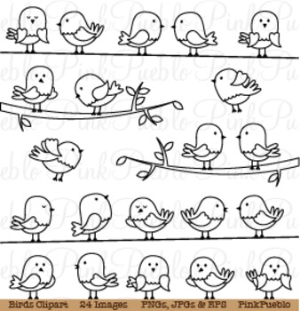Birds Digital Stamps or Line Art Clipart Clip Art - Commercial and Personal Use