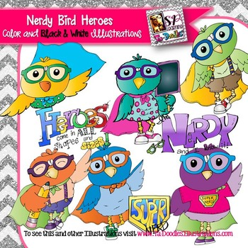 Birds Dressed as Nerd Heroes clip art