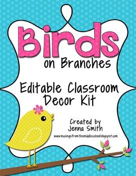Birds Editable Classroom Decor Kit