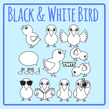 Birds - Lineart / Black and White / Printer Friendly Clip Art Set Commercial Use