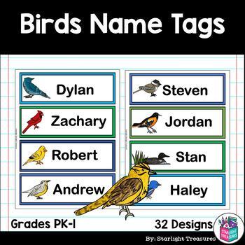 Birds Name Tags - Editable