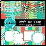 Bird's Nest ~ Digital Papers, Frames, and Pennant Banners
