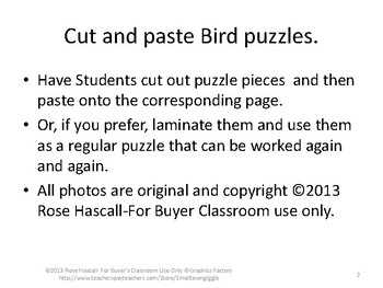 Birds,Cut and Paste Puzzles,Early Finishers,Math Centers,Special Education