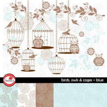 Birds Owls & Cages - Blue Clipart and Digital Papers by Poppydreamz