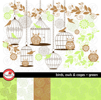 Birds Owls & Cages - Green Clipart and Digital Papers by Poppydreamz