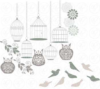 Birds Owls & Cages - Pale Teal Clipart and Digital Papers by Poppydreamz