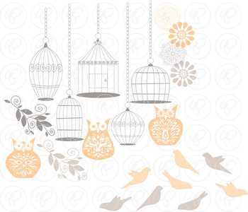 Birds Owls & Cages - Peach Clipart and Digital Papers by Poppydreamz