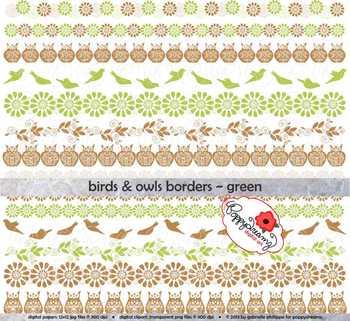 Birds & Owls Green Borders by Poppydreamz