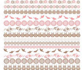 Birds & Owls Pink Borders by Poppydreamz