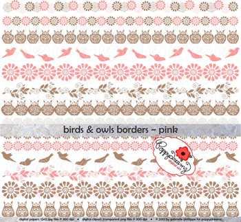 Birds & Owls Pink Borders by Poppydreamz