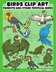 Birds: Parrots and other tropical birds clip art set