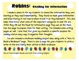 Birds: Read for Information  (Robins/Birds)