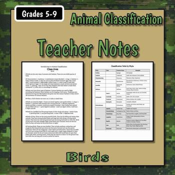 Birds Teacher Notes & Assignments