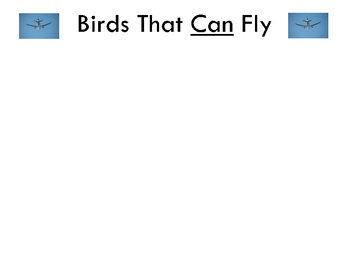 Birds That Can/Cannot Fly Science Center Activity