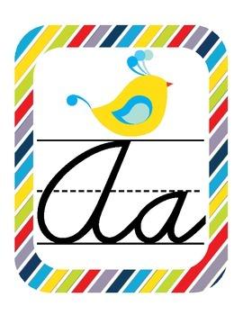 Birds Themed Classroom ABC Cursive Printables