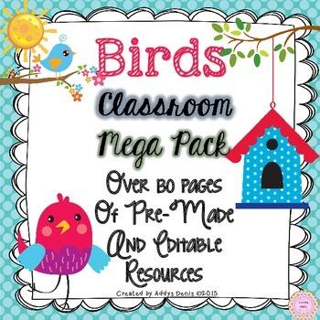 Bird Themed Classroom Decor - EDITABLE