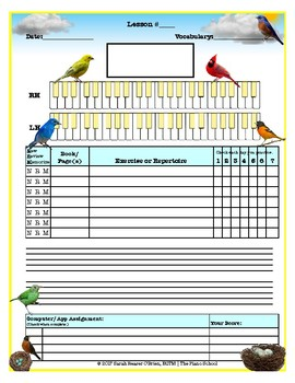 Birds Themed Piano Lesson Assignment Sheet