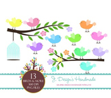 Birds, Tree Branches and Bird Cage Clipart - Birds and Branches - Cute Birds