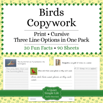 Birds Unit - Copywork - Cursive - Handwriting
