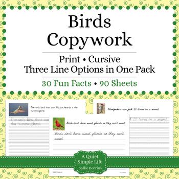 Birds Unit - Copywork - Print - Handwriting