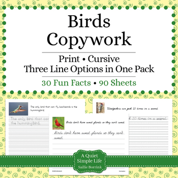 Birds Unit - Copywork - Print and Cursive - Handwriting