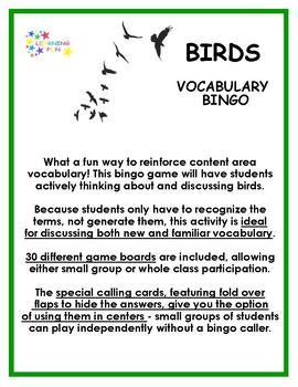 Birds Vocabulary Bingo