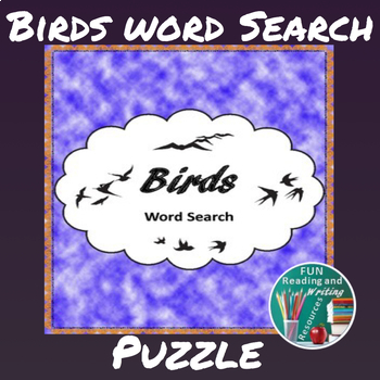 Birds Word Search - Different Types of Birds Word Find Puzzle