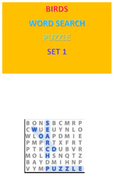 Birds Word Search Puzzles -- Set 1