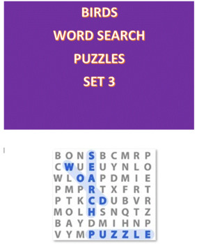 Birds Word Search Puzzles -- Set 3